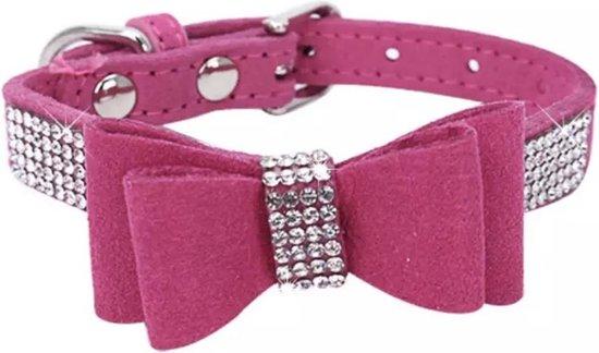 roze halsband met steentjes 30cm